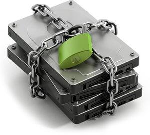 Festplatte mit Kettenschloss verschlüsselt